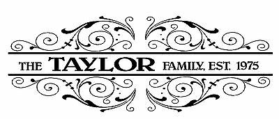 £18.50 • Buy Family Name Year Personalised Anniversary Wedding Present Vinyl Decal Sticker