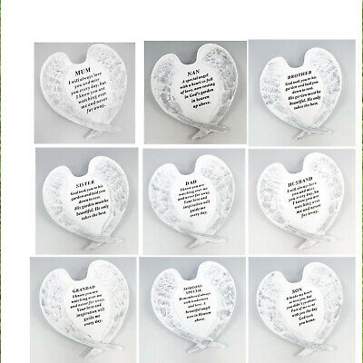£11.99 • Buy White & Silver Angel Wings Plaque Free Standing Grave Stone Decoration And Verse