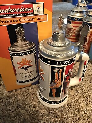 $ CDN54.45 • Buy Budweiser Salt Lake 2002 Celebrating The Challenge Lidded Stein CS454 COA & Box
