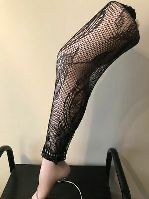 £1.80 • Buy Lace Tights Footless Floral  Pattern One Size Super Stretch Size 34  - 42  Hips