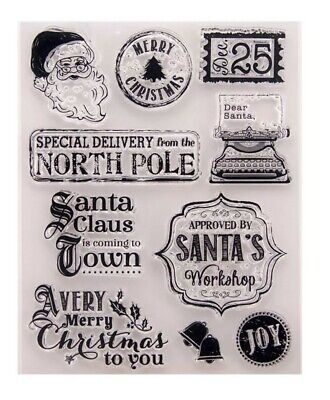 10 Xmas Clear Rubber Stamps/santa Transparent Stamp/father Christmas Letter/word • 5.50£