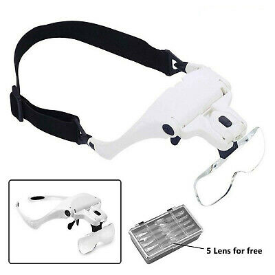 Lightweight Magnifier Head Light 2 LED Adjustable Magnifying Glass With 5 Lens • 9.75£