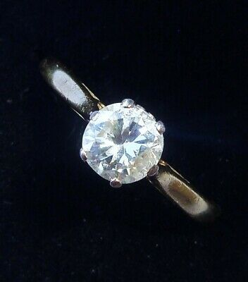 Antique Art Deco 18ct Gold 0.50ct Diamond Solitaire Ring, Size N, Engagement  • 550£