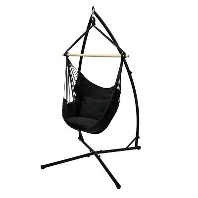 Hamock Hanging Chair With Stand Camping Garden Anthracite Hanging Chair + Frame • 84.95£