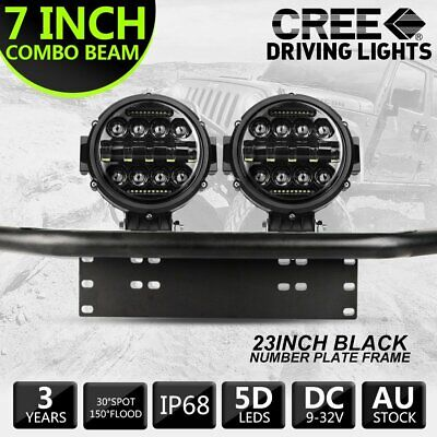 AU109.99 • Buy Pair 7 Inch Round LED Work Light Spot Combo Lamp DRL Driving +Number Plate Frame