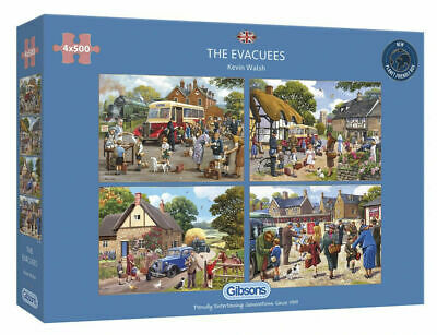 Gibsons The Evacuees By Kevin Walsh 4 X 500 Jigsaws Puzzle Memories, WW2 G5056 • 25.99£