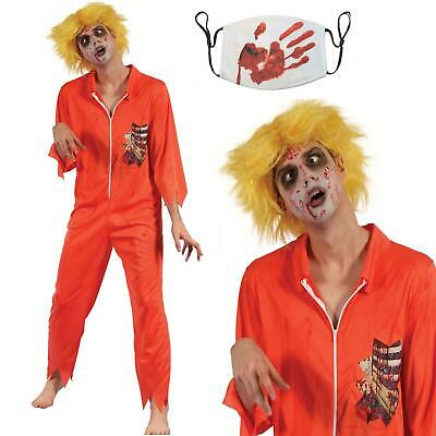 Zombie Convict Halloween Costume: Fancy Dress Prisoner Horror Jumpsuit Mens • 7.98£