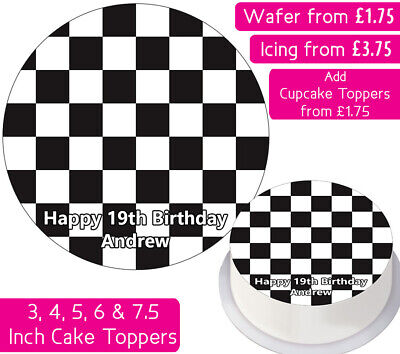 £1.75 • Buy Checkered Pattern Edible Wafer & Icing Personalised Cake Toppers Chess Race Flag