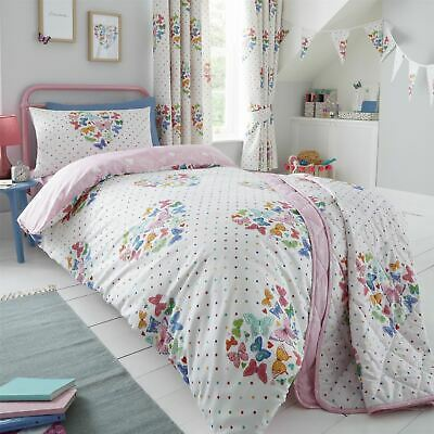 HLC Girls Kids Hearts Butterflies White Pink Duvet Cover Curtains Throw Bunting • 13.49£