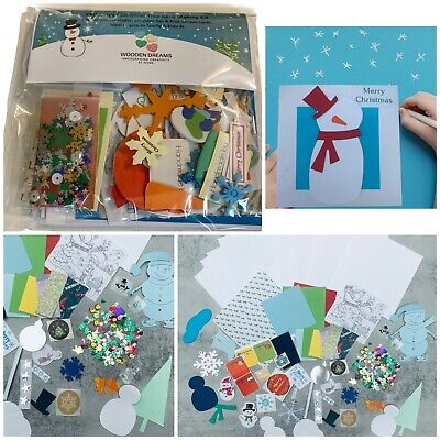 New Children's Christmas Snowman  Card Making Kit - Makes 4 Different Cards • 5.49£