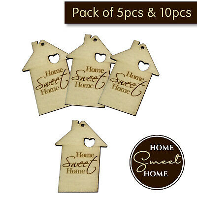 £4.39 • Buy 5 Or 10 MDF Wooden House Home Shapes Tags Engraved Embellishments Craft Blanks