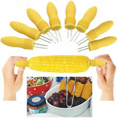 £2.95 • Buy 🔥8x Corn Skewers Stainless Steel Sweetcorn On The Cob Holder BBQ Prongs Forks