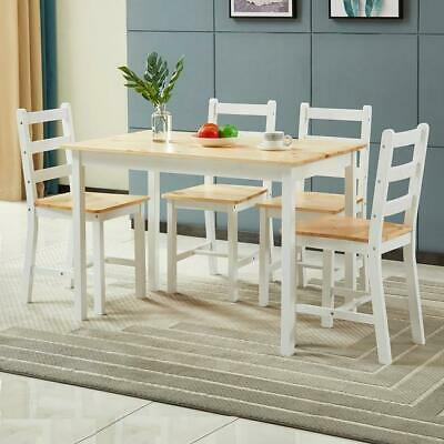 AU187 • Buy RETURNs Modern Dining Table Chairs 5 Set Wooden Rectangular Kitchen Furniture Wh