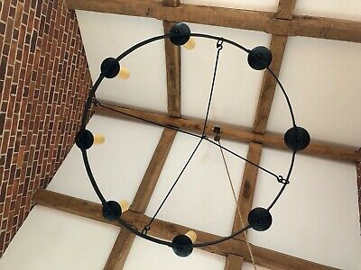 Wrought Iron  vintage 8 Cup Candle Chandelier With Hook - Exc Condition • 495£