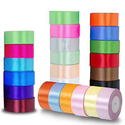 £2.69 • Buy Satin Ribbon Rolls Reel 10mm 25mm 40mm Widths Double Sided 25 Metres Tying Craft