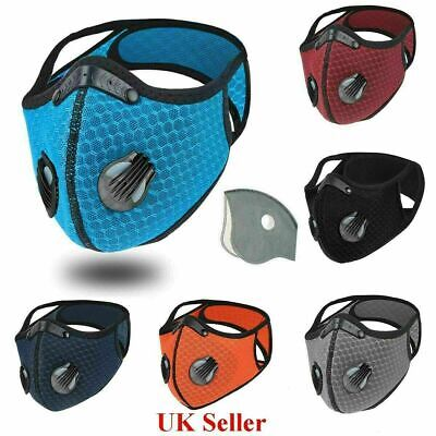 Face Mask Anti Pollution PM2.5 Two Air Vent With Filter Reusable Washable SPORT • 4.99£