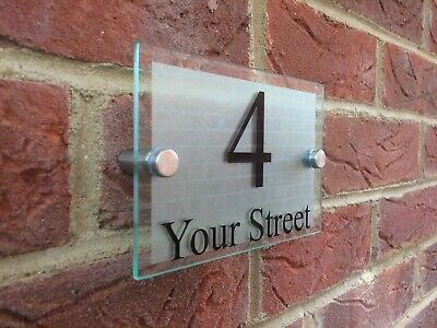 Modern House Sign Plaque Door Number Street Glass Effect Acrylic House Name • 6.99£