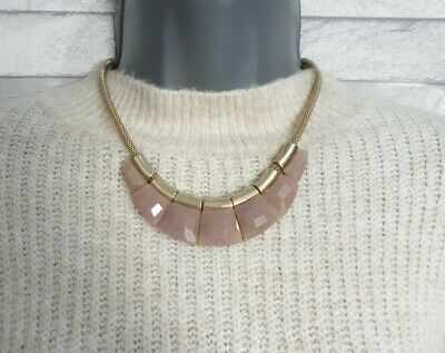 Gold Tone Snake Chain Necklace Pink Flat Pendant Beads STATEMENT Jewellery  • 6.90£