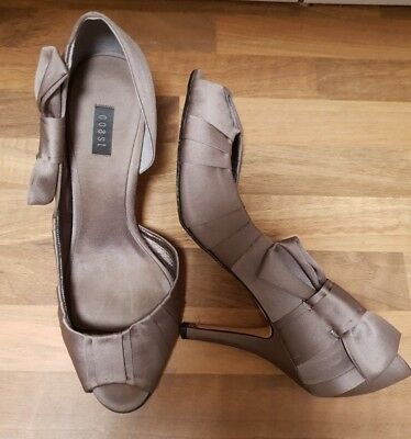 Coast Silver Taupe Satin Court Shoes Size 7 Bow Detail Peep Toe Occasion Party • 7.95£