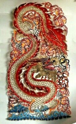 Unique Thailand Hand Cut Oriental Dragon Leather Print Wall Hanging Artwork RARE • 19.99£