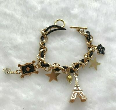 Teen Kids Bracelet Black Gold Rope Paris Charms Dangle String Chain Cute Pandora • 1.59£