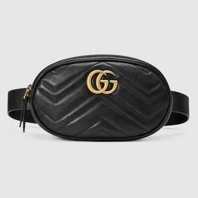 AU1199 • Buy Gucci GG Marmont Quilted Leather Belt Bag Black -Excellent Condition & Authentic