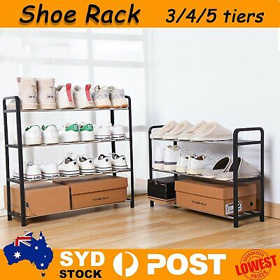 AU18.79 • Buy 3 4 5 Tiers Shoe Rack Storage Organizer Tower Shelf Stand Shelves Sneake Bench A