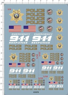£7.79 • Buy Water Slide Decals 1/6 1/10 1/12 1/18 1/24 911 Police (61670) For Model Kits