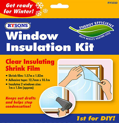 £2.55 • Buy 🔥 Window Insulation Kit Double Glazing Shrink Film Draught Excluder Cold Frost