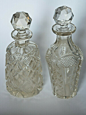 Vintage Cut Glass Perfume Bottles X 2 • 9£