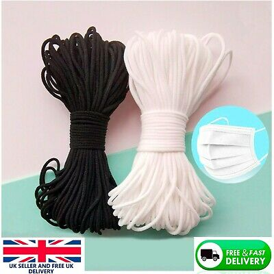 3mm Elastic Cord SOFT BLACK & WHITE Band Strap Sewing Craft For Face Mask • 3.59£