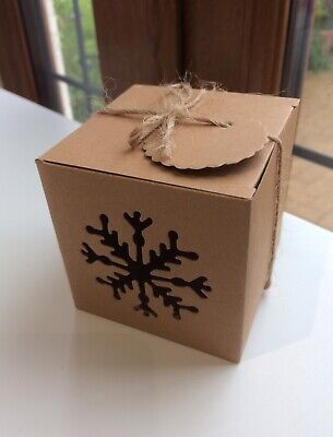 5 Snowflake Gift Eco Box Candy Rustic Favour Christmas Present Kraft Card • 3.90£