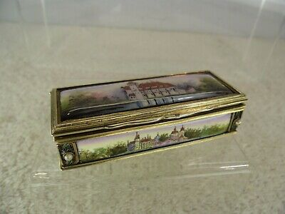 Continental Solid Silver C1850 Enamelled & Jewelled Snuff Box • 795£