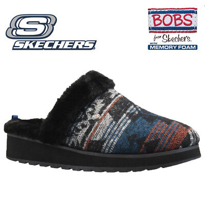 Womens Skechers Bobs Relaxed Fit Memory Foam Full Fur Mules Slippers Shoes Size • 29.95£
