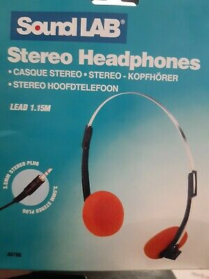 SOUND LAB Vintage Retro Style Stereo Orange Headphones 3.5 Mm Jack / 1.15 M Lead • 2.95£
