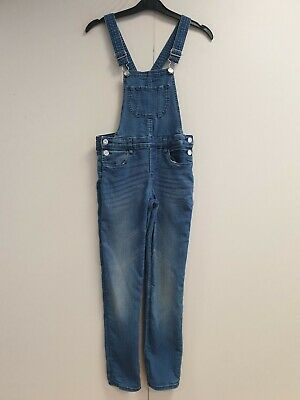 Girls H&m Faded Blue Skinny Stretch Denim Dungarees Age 9-10 Years W24 L25 • 8.98£