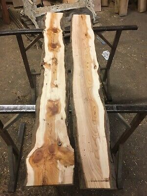 Plained Yew Board/hard/wood/character/rustic/Wavy Edge/Kiln Dried/resin Table? • 115£