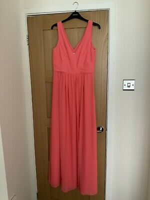 £19.99 • Buy VGC Monsoon Size 10 Coral Sleeveless Maxi Dress Wedding Occasion Wrap Front