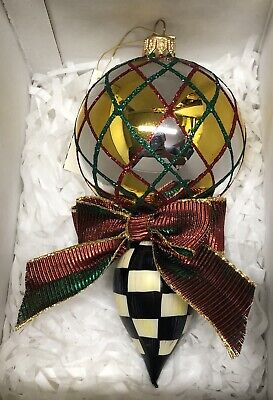 $74.99 • Buy MACKENZIE-CHILDS Argyle Check Glass Drop Ornament - Store Displayed - Listing C