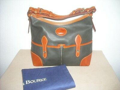 $159 • Buy Dooney & Bourke Large LUCY ~DARK GREEN~ AWL Pebble Leather Hobo Bag - EXCELLENT