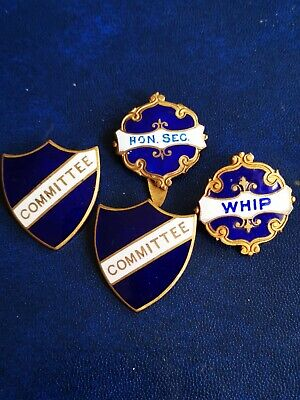 4 Vintage Enameled Badges Hon.sec And.whip, Plus Two Committee • 19.95£