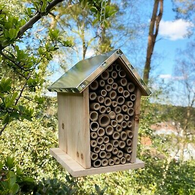 £12.99 • Buy Wooden Hanging Insect, Bug And Bee House With Metal Roof