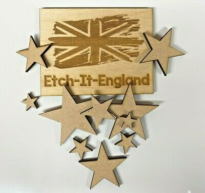 25 X Wooden MDF Star Shapes Craft Blank Christmas Plaque & Card Making  • 0.99£