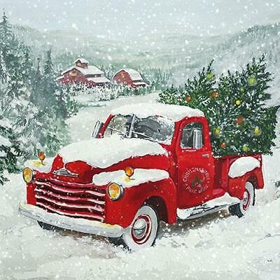 £5.59 • Buy Full Pack 20 Christmas Trees & Red Truck Napkins, Decoupage Napkins, Party