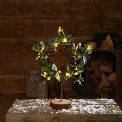 Battery Power Christmas Foliage Table Top Decoration | Door Fireplace Mantel • 16.99£