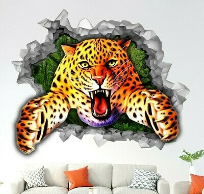 3D Cheetah Busted Wall Sticker Vinyl Decal Boys Bedroom Play Room Jungle Decal • 29.99£