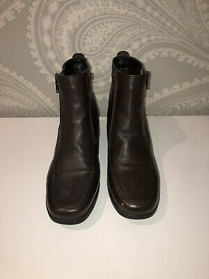 Ladies PAVERS Brown Leather Flat Ankle Boot Size 4  • 10£