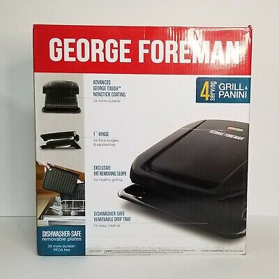 George Foreman GRP1060B 4-Serving Panini Press With Removable Plate - Black • 34.50£