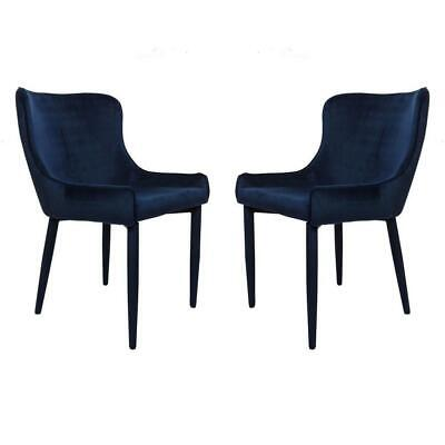 AU429 • Buy Set Of 2 Juliet Velvet Fabric Dining Chair - Navy Blue
