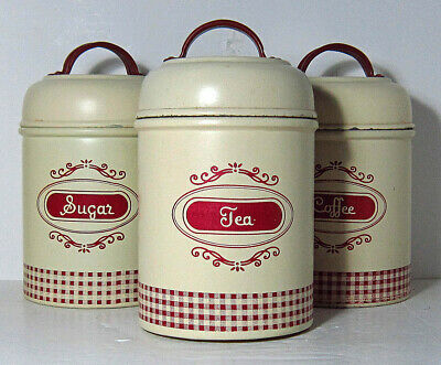 Rayware Retro Design Red And Cream Metal Sugar Coffee Tea Canisters • 12£